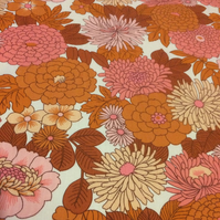 Funky Orange Pink Ashworth Floral 60s 70s Duro VIntage fabric Lampshade