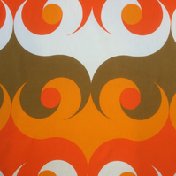 Funky Orange Abstract Cyclo 60s 70s Moygashel VIntage fabric Lampshade