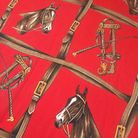 Scarlet Red Horse Equestrian 60s 70s VIntage fabric Lampshade option