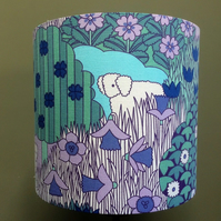 RETRO 70s  lilac SHEEP MAY SAFELY Pat Albeck  Vintage Fabric Lampshade option