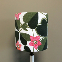 Unusual Pink Flower Clover Leaf Barkcloth  Vintage Fabric Lampshade option