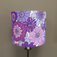 Flower Power 70s RETRO Lilac and Purple Vintage Fabric Lampshade - Custom Made