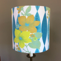 Swinging 60s Zesty Flowers Blue Yellow Lime  vintage fabric Lampshade option