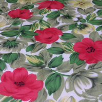 50s Mid Century RETRO Red Rose and Green Leaf vintage fabric Lampshade option