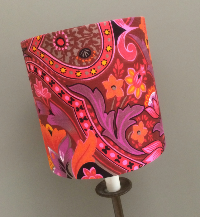 60s 70s GROOVY HippyTrippy Pink Brown Purple vintage fabric Lampshade option