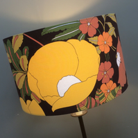 Big Bold Groovy Yellow POPPY Brown Flower Power Vintage fabric Lampshade Option