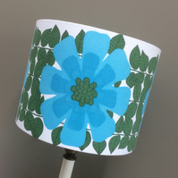 Scandi Turquoise Daisy Flower Power 60s 70s Vintage Fabric Lampshade Option