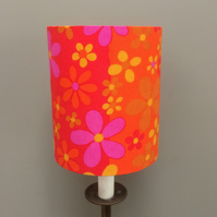 Funky Daisy Flower Power Orange PINK  VIntage fabric Lampshade option