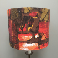 Abstract 50s Barkcloth Orange and Olive MID CENTURY VIntage fabric Lampshade