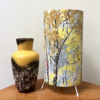 Forest Trees in Dappled Light and Shade 50s Barkcloth Vintage Fabric Lamp