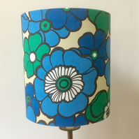 Funky Festival Flower Power Retro 60s 70s Blue Vintage Fabric Lampshade option
