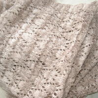 Lace shawl or scarf - handknit from handspun yarn