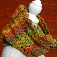 Cowl, Snood, Infinity Scarf in Yellow  , Red , Green and Brown