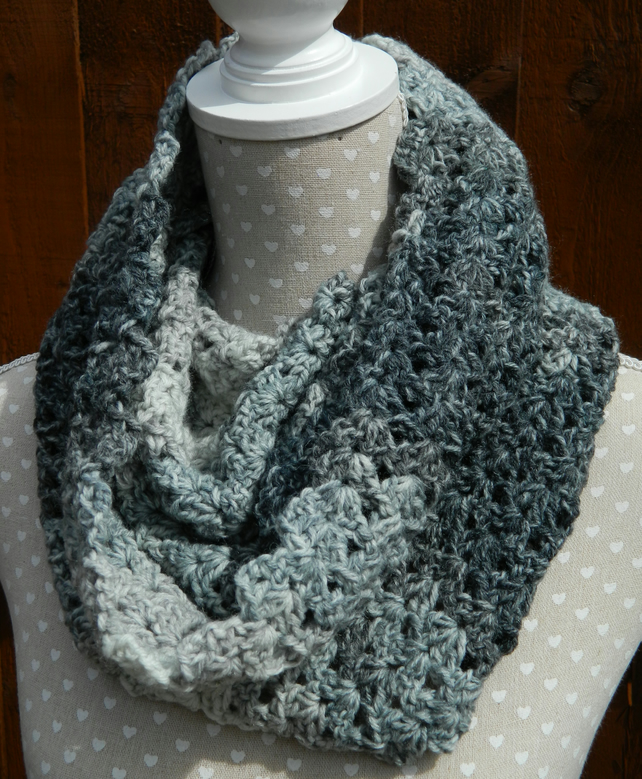 Snood, Cowl , Infinity Scarf in Blue and Grey