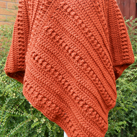 Crocheted Poncho in a Copper Colour