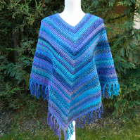 Hippy Style Poncho in Shades of Blue with green