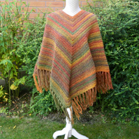 Hippy Style Poncho in Autumn Colours of Red, Green, Brown, Yellow