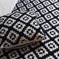 Handmade crochet blanket and cushion cover, monochrome diagonal granny squares