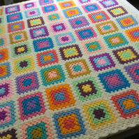 Handmade crochet blanket granny square design cream and multicolour