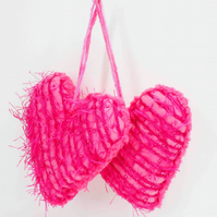 2 large fabric heart hanging decorations or keepsakes, pink