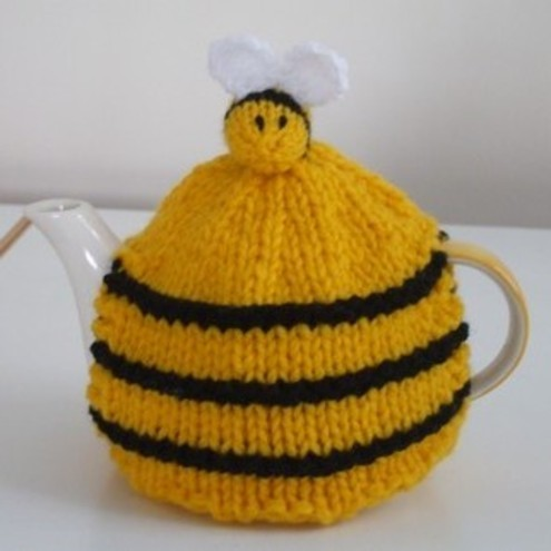 Hand Knitted Small Bee Hive Tea Cosy with Bees