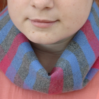 Hand Woven Lambswool Scarf Collar - Blue, Grey, Pink
