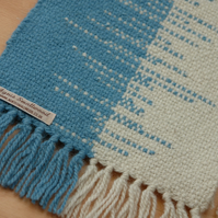 Hand Woven Wool Table Runner - Blue and Cream