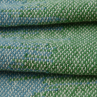 Hand Woven Wool Table Runner - Green and Blue