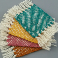 Hand Woven Wool Coasters - Set of 4 - Pink, Gold, Turquoise, Yellow