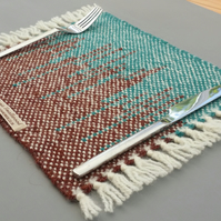 Two Hand Woven Placemats- turquoise and brown