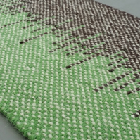 Hand Woven Wool Table Runner - Green and Brown