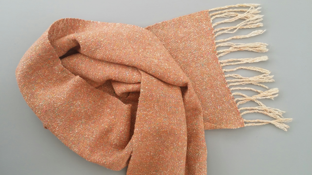 Hand Woven Scarf - Rust