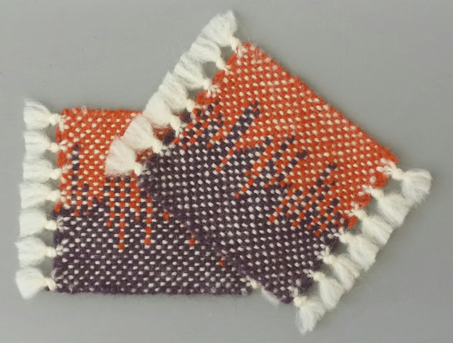 Hand Woven Wool Coasters - Set of 2, dark purple and orange
