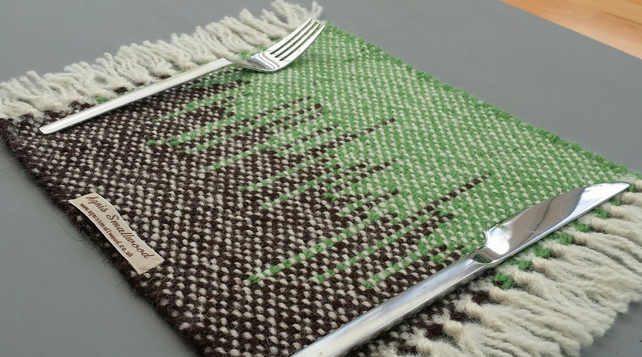 Two Hand Woven Placemats- green and brown