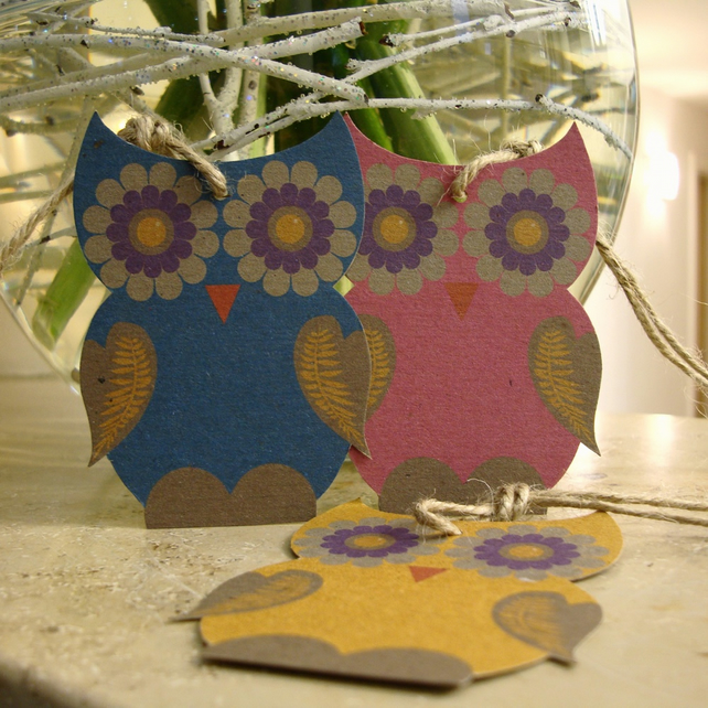 Owl gift tags x 3
