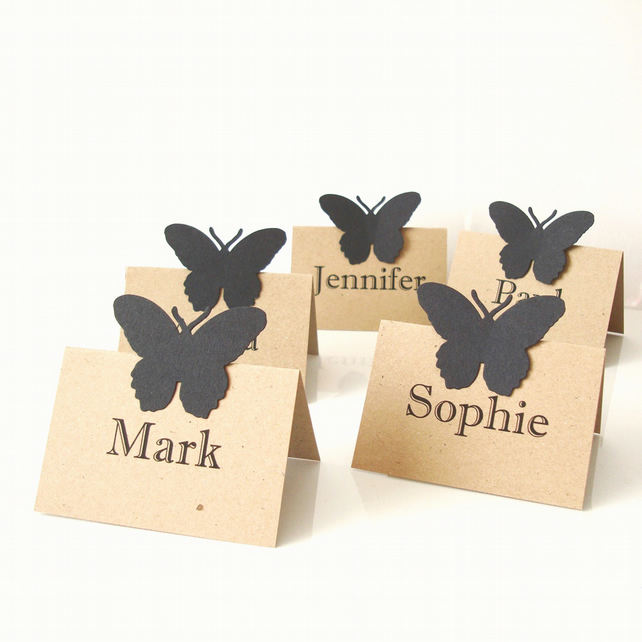 Place cards set of 10 with black butterfly