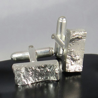 Unique Reticulated Silver Bar Cufflinks