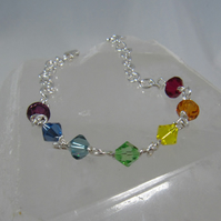 Reserved - Child's Rainbow Swarovski Crystal and Silver Chakra Bracelet