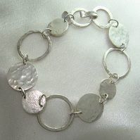 Hammered Discs Circles and Rings Silver Bracelet