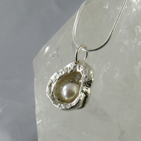 Secret Silver Oyster Shell and Pearl Pendant