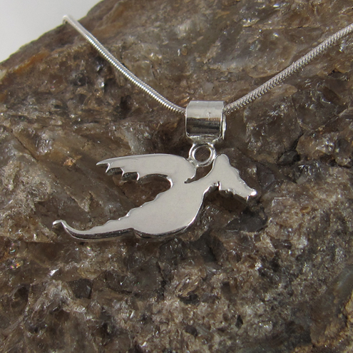 "RESERVED FOR MALCOM: Unisex Sterling Silver Dragon Pendant and 18"" Necklace"