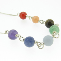 Sterling Silver Necklace with Rainbow Coloured Chakra Gemstone Beads