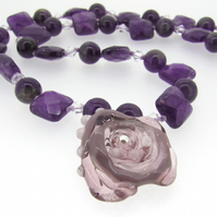 CUSTOM ORDER - Purple Amethyst Gemstone Neckalce with Handmade Glass Rose