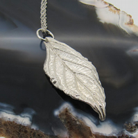 Sterling Silver Flowering Cherry Leaf Pendant and Necklace