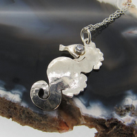Sterling Silver Seahorse Pendant with Cubic Zirconia