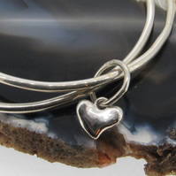 Twin Silver Love Heart Charm Bangles