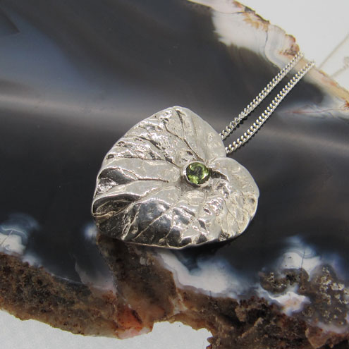 Sterling Silver Heart Leaf Pendant with Peridot Birthstone for August