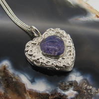 Sterling Silver Heart Pendant with Resin Set Amethyst Cubic Zirconia CZ