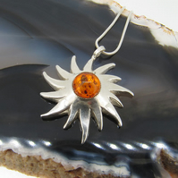 Amber and Stering Silver 3D Sun Pendant