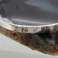 Sterling Silver and Pink Tourmaline Bangle with Handstamped Message of Love